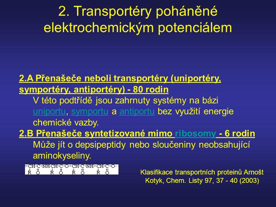2. Transportéry poháněné elektrochemickým potenciálem 2.A Přenašeče neboli transportéry (uniportéry, symportéry, antiportéry) - 80 rodin V této podtří