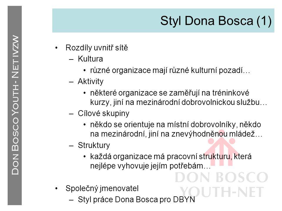 Don Bosco Youth - Net IVZW Styl Dona Bosca (1) •Rozdíly uvnitř sítě –Kultura •různé organizace mají různé kulturní pozadí… –Aktivity •některé organiza
