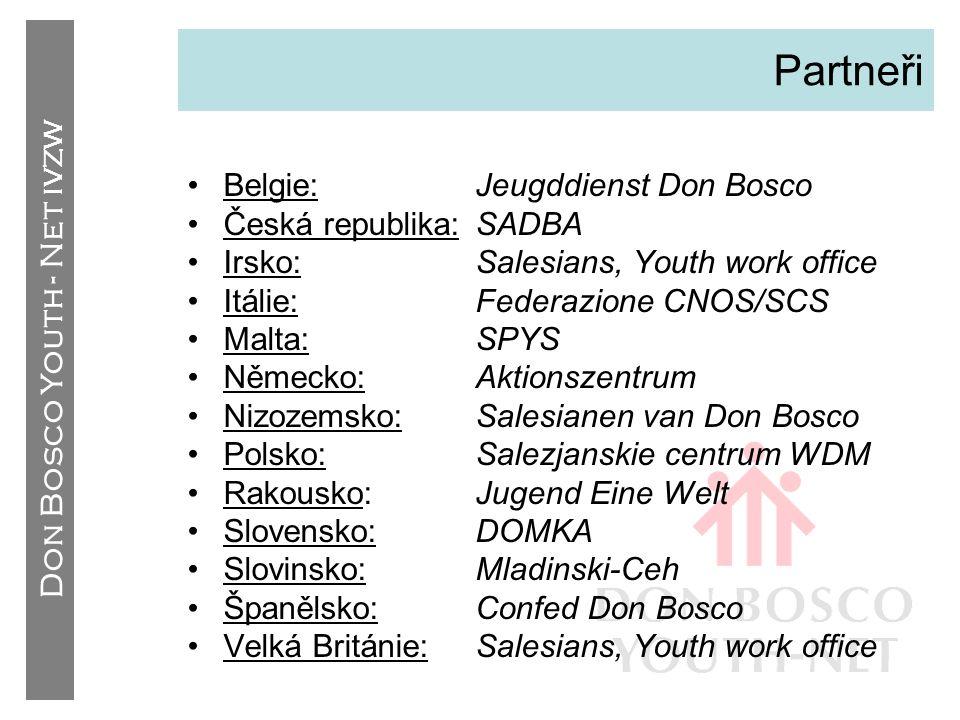 Don Bosco Youth - Net IVZW Kontakty •Dílo DB (Evropa) –Ázerbájdžán –Maďarsko –kontakty partnerů •Dílo DB (svět) –Argentina –Indie –Spojené státy –kontakty partnerů •Hnutí Dona Bosca –D.B.N.