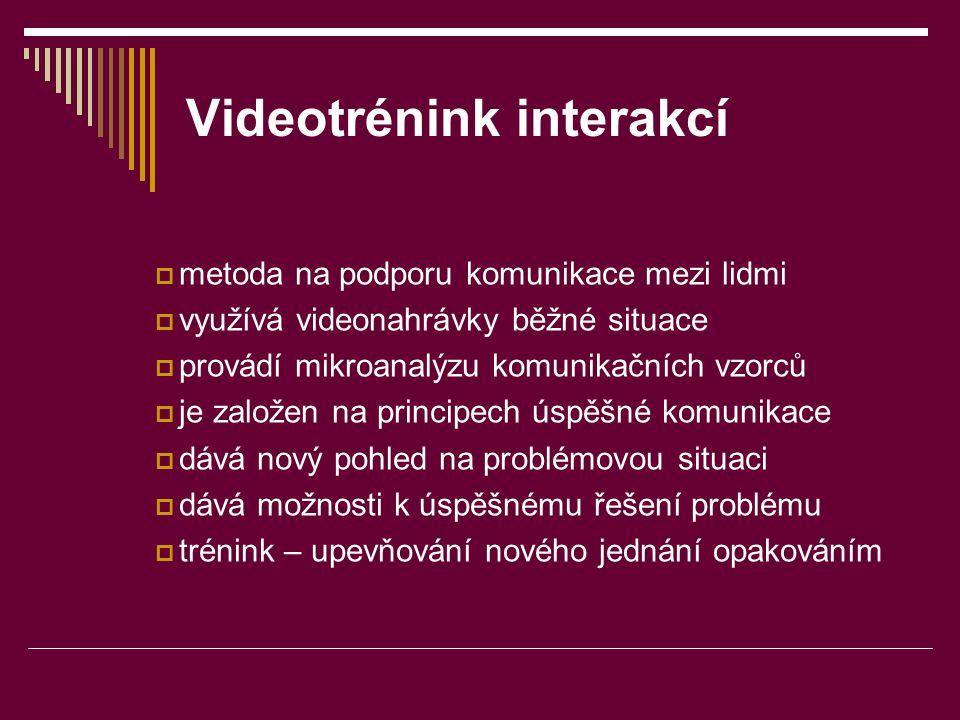 Videotrénink interakcí  metoda na podporu komunikace mezi lidmi  využívá videonahrávky běžné situace  provádí mikroanalýzu komunikačních vzorců  j