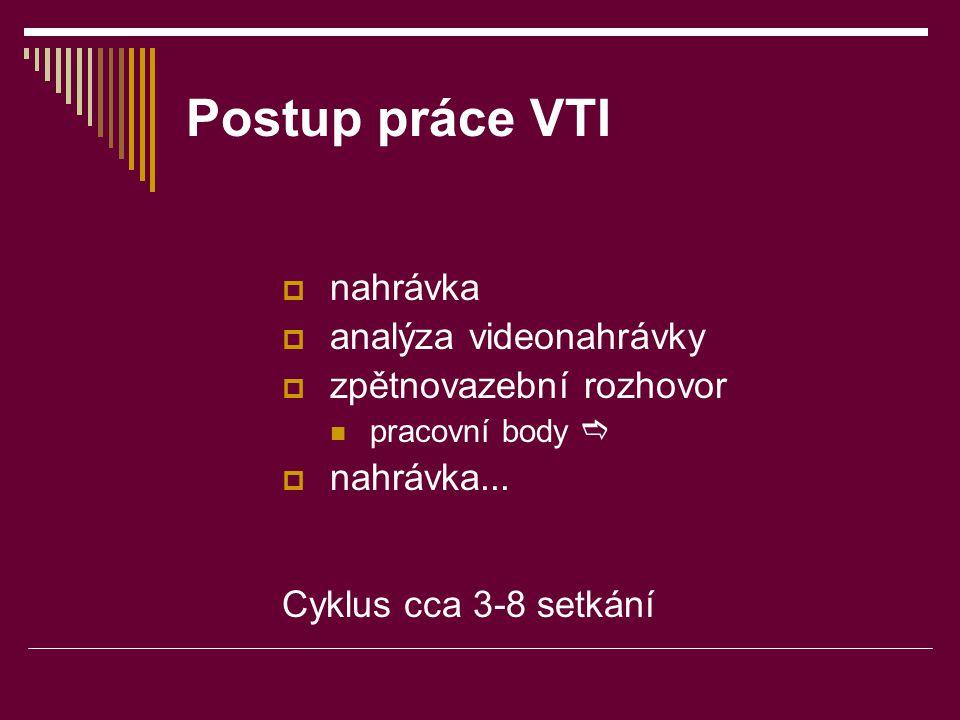 Postup práce VTI  nahrávka  analýza videonahrávky  zpětnovazební rozhovor  pracovní body   nahrávka... Cyklus cca 3-8 setkání