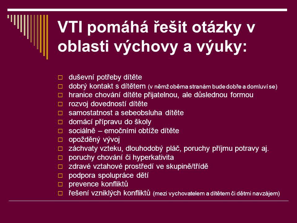 VTI pomáhá řešit otázky v oblasti výchovy a výuky:  duševní potřeby dítěte  dobrý kontakt s dítětem (v němž oběma stranám bude dobře a domluví se) 