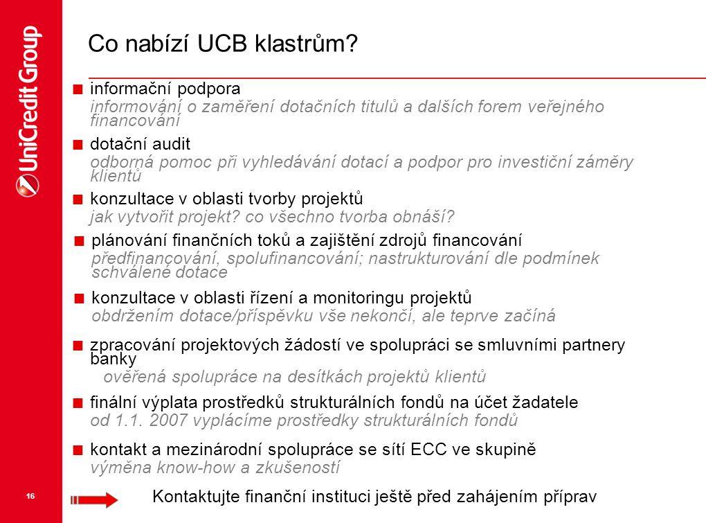 16 Co nabízí UCB klastrům?  dotační audit odborná pomoc při vyhledávání dotací a podpor pro investiční záměry klientů  konzultace v oblasti tvorby p