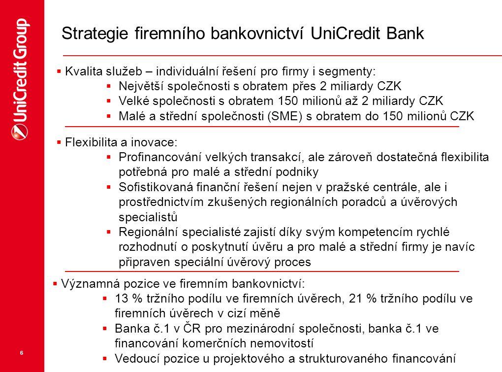 6 Strategie firemního bankovnictví UniCredit Bank  Kvalita služeb – individuální řešení pro firmy i segmenty:  Největší společnosti s obratem přes 2