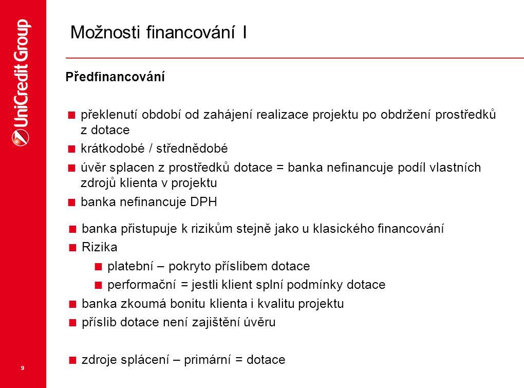 9 Možnosti financování I Předfinancování  překlenutí období od zahájení realizace projektu po obdržení prostředků z dotace  krátkodobé / střednědobé