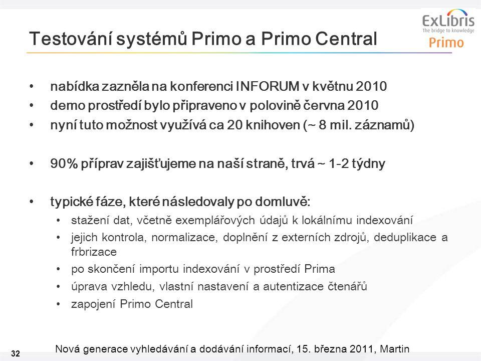 32 Nová generace vyhledávání a dodávání informací, 15. března 2011, Martin Testování systémů Primo a Primo Central •nabídka zazněla na konferenci INFO