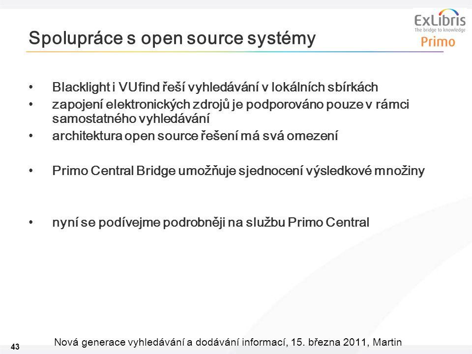 43 Nová generace vyhledávání a dodávání informací, 15. března 2011, Martin Spolupráce s open source systémy •Blacklight i VUfind řeší vyhledávání v lo