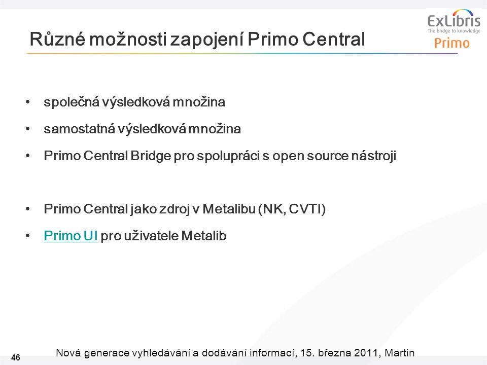 46 Nová generace vyhledávání a dodávání informací, 15. března 2011, Martin Různé možnosti zapojení Primo Central •společná výsledková množina •samosta