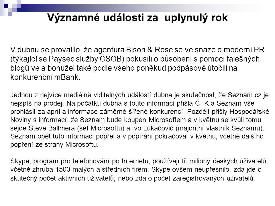 Významné události za uplynulý rok V dubnu se provalilo, že agentura Bison & Rose se ve snaze o moderní PR (týkající se Paysec služby ČSOB) pokusili o působení s pomocí falešných blogů ve a bohužel také podle všeho poněkud podpásově útočili na konkurenční mBank.