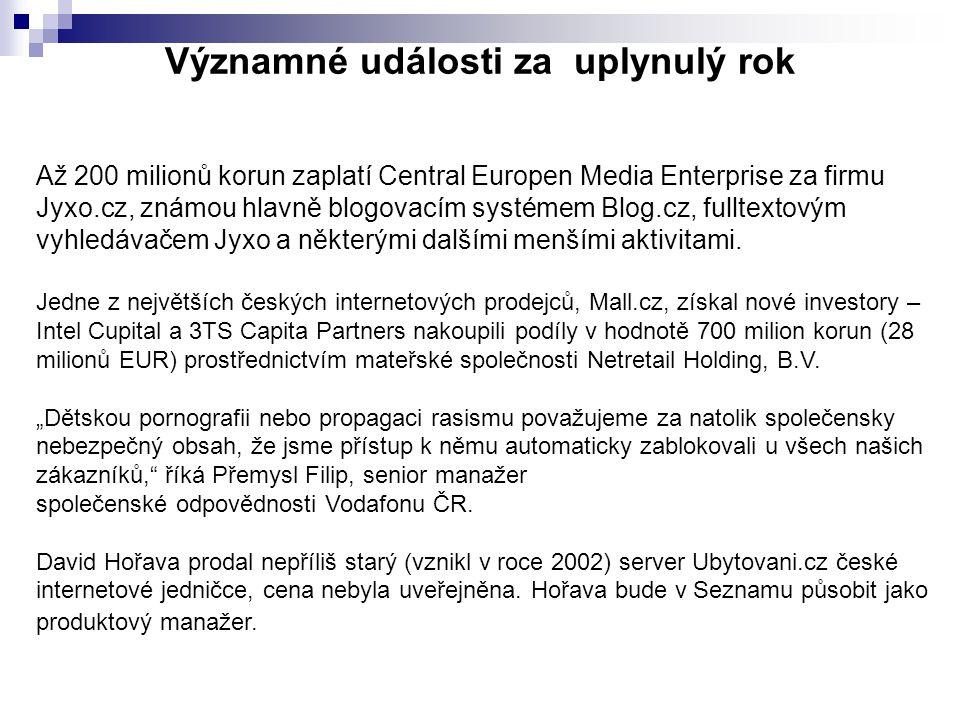 Významné události za uplynulý rok Až 200 milionů korun zaplatí Central Europen Media Enterprise za firmu Jyxo.cz, známou hlavně blogovacím systémem Blog.cz, fulltextovým vyhledávačem Jyxo a některými dalšími menšími aktivitami.