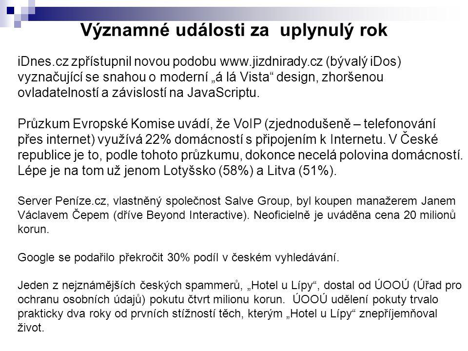 """Významné události za uplynulý rok iDnes.cz zpřístupnil novou podobu www.jizdnirady.cz (bývalý iDos) vyznačující se snahou o moderní """"á lá Vista design, zhoršenou ovladatelností a závislostí na JavaScriptu."""