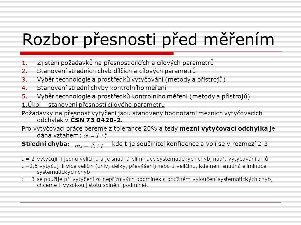 Rozbor přesnosti před měřením 1.Zjištění požadavků na přesnost dílčích a cílových parametrů 2.Stanovení středních chyb dílčích a cílových parametrů 3.