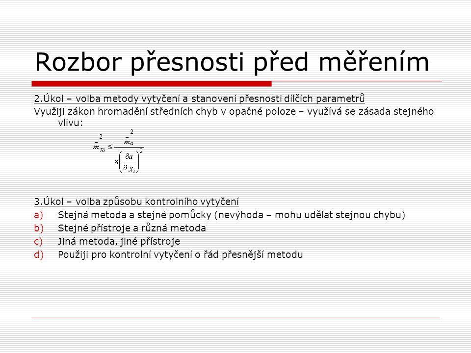 Rozbor přesnosti před měřením 2.Úkol – volba metody vytyčení a stanovení přesnosti dílčích parametrů Využiji zákon hromadění středních chyb v opačné p