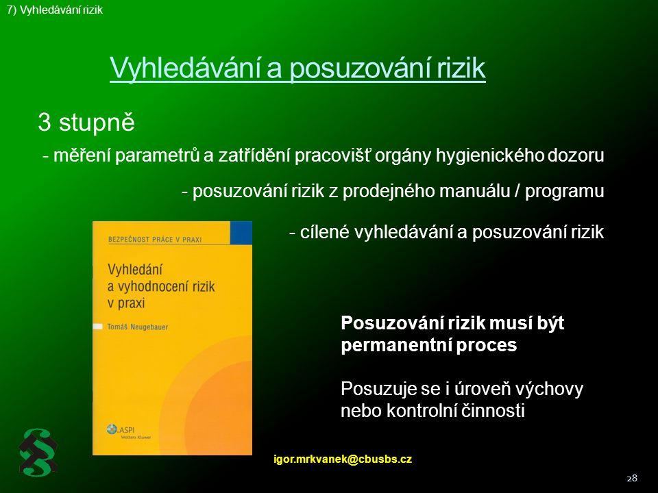 Vyhledávání a posuzování rizik 28 Posuzování rizik musí být permanentní proces Posuzuje se i úroveň výchovy nebo kontrolní činnosti 3 stupně - měření