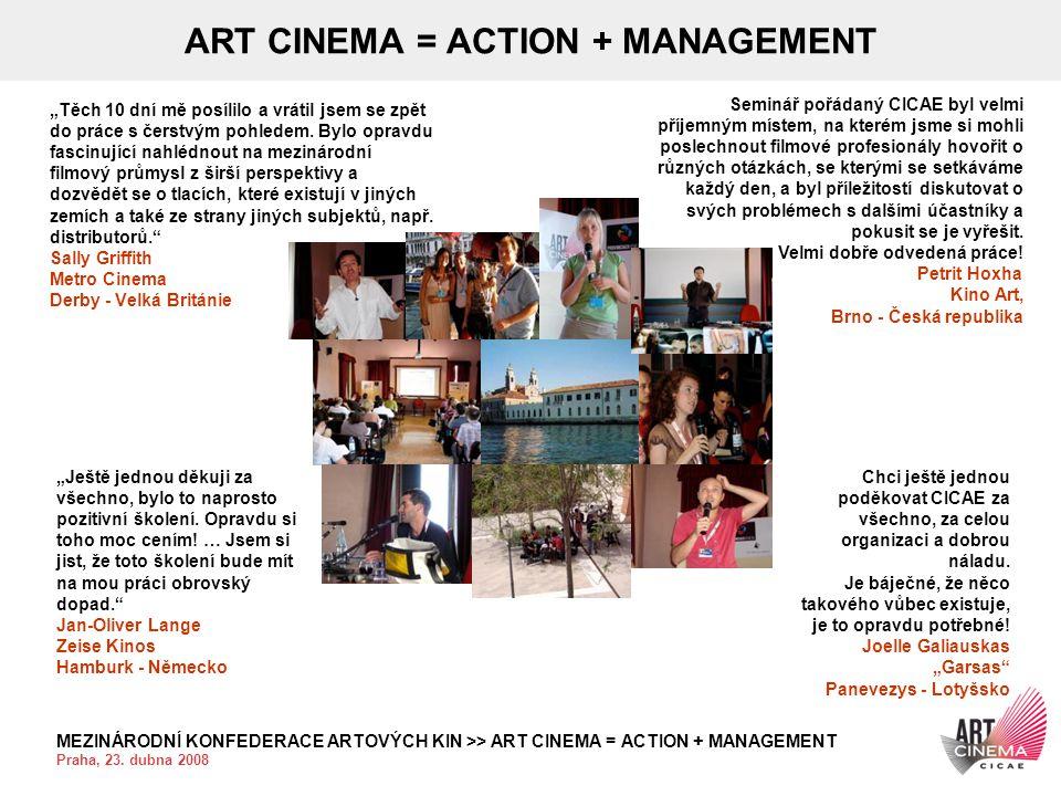 """MEZINÁRODNÍ KONFEDERACE ARTOVÝCH KIN >> ART CINEMA = ACTION + MANAGEMENT Praha, 23. dubna 2008 ART CINEMA = ACTION + MANAGEMENT """"Těch 10 dní mě posíli"""