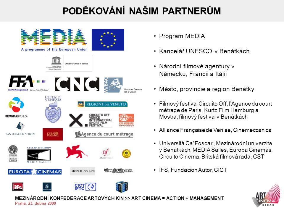 MEZINÁRODNÍ KONFEDERACE ARTOVÝCH KIN >> ART CINEMA = ACTION + MANAGEMENT Praha, 23. dubna 2008 PODĚKOVÁNÍ NAŠIM PARTNERŮM •Program MEDIA •Kancelář UNE