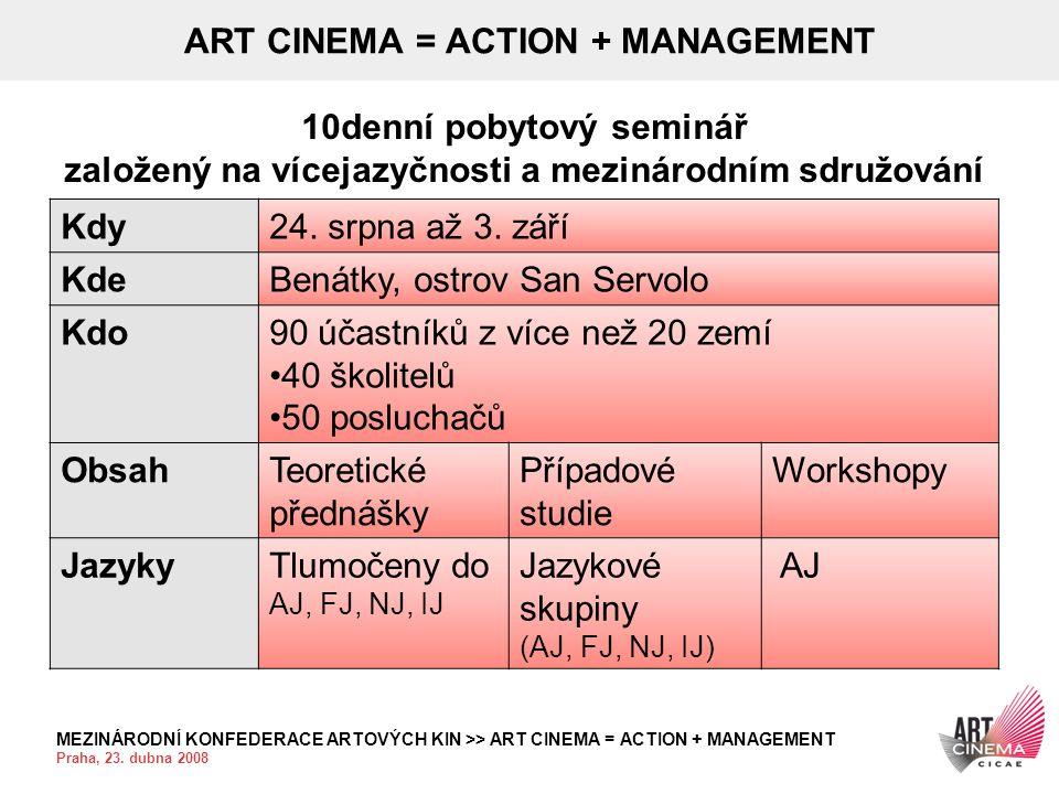 MEZINÁRODNÍ KONFEDERACE ARTOVÝCH KIN >> ART CINEMA = ACTION + MANAGEMENT Praha, 23. dubna 2008 ART CINEMA = ACTION + MANAGEMENT 10denní pobytový semin