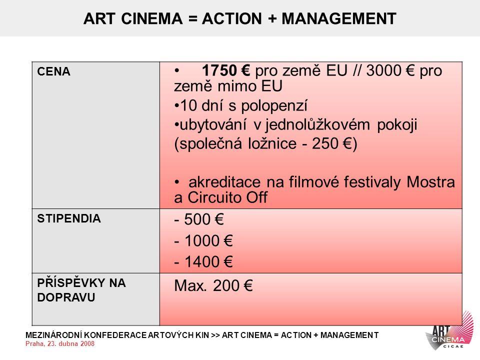 MEZINÁRODNÍ KONFEDERACE ARTOVÝCH KIN >> ART CINEMA = ACTION + MANAGEMENT Praha, 23. dubna 2008 ART CINEMA = ACTION + MANAGEMENT CENA • 1750 € pro země