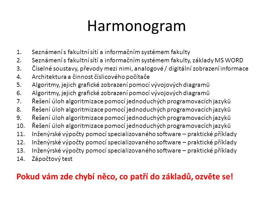 Harmonogram 1.Seznámení s fakultní sítí a informačním systémem fakulty 2.Seznámení s fakultní sítí a informačním systémem fakulty, základy MS WORD 3.Č