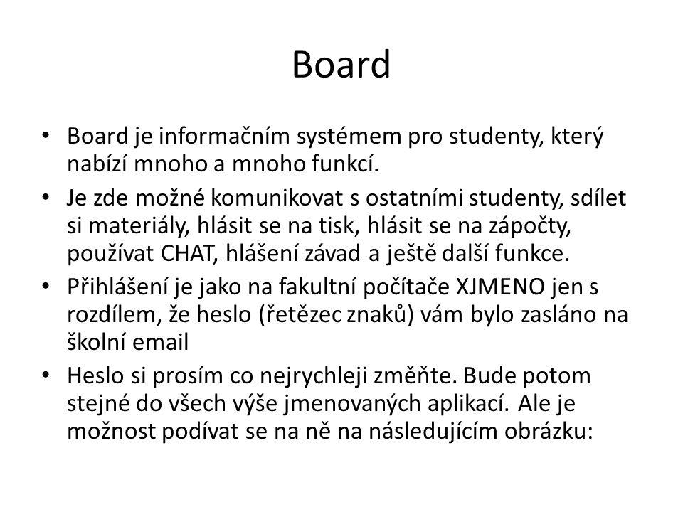 Board • Board je informačním systémem pro studenty, který nabízí mnoho a mnoho funkcí. • Je zde možné komunikovat s ostatními studenty, sdílet si mate