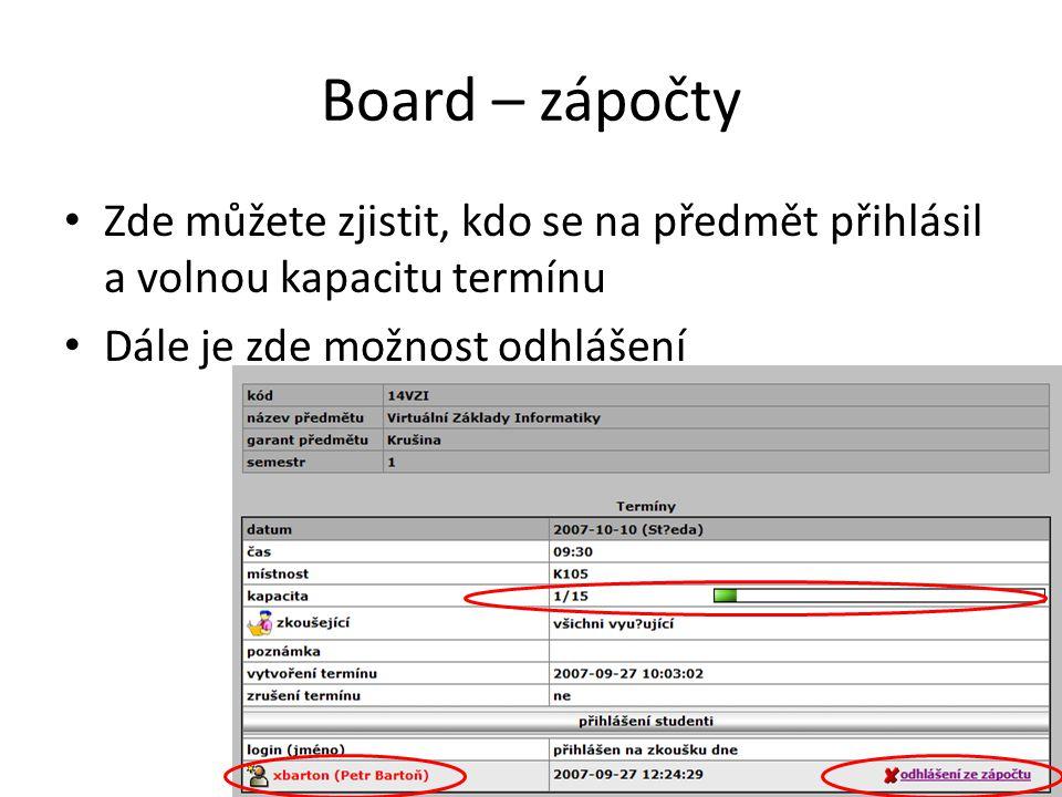 Board – zápočty • Zde můžete zjistit, kdo se na předmět přihlásil a volnou kapacitu termínu • Dále je zde možnost odhlášení