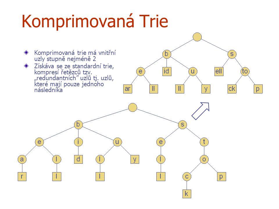 """Komprimovaná Trie Komprimovaná trie má vnitřní uzly stupně nejméně 2 Získáva se ze standardní trie, kompresí řetězců tzv. """"redundantních"""" uzlů tj. uzl"""