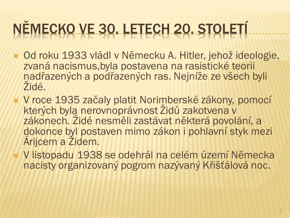  Od roku 1933 vládl v Německu A. Hitler, jehož ideologie, zvaná nacismus,byla postavena na rasistické teorii nadřazených a podřazených ras. Nejníže z