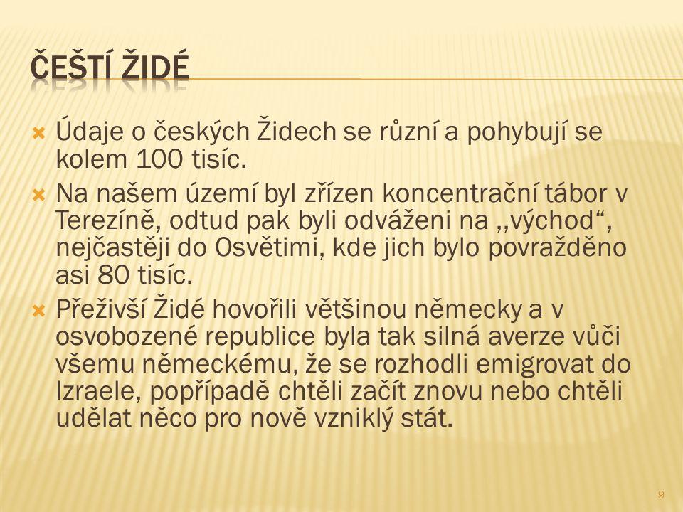  Údaje o českých Židech se různí a pohybují se kolem 100 tisíc.  Na našem území byl zřízen koncentrační tábor v Terezíně, odtud pak byli odváženi na