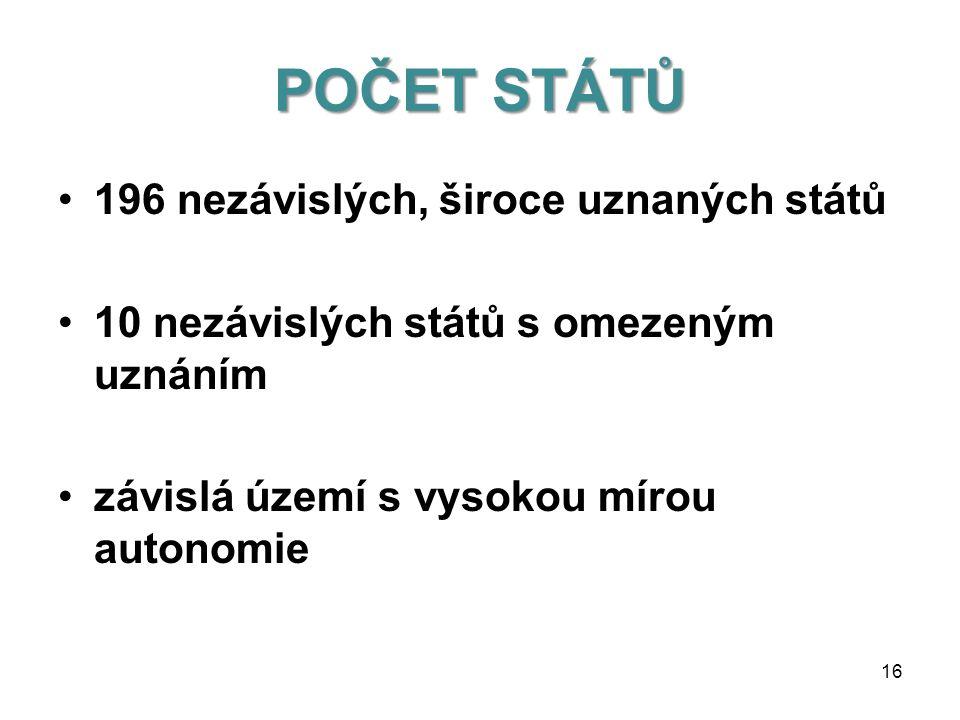 DRUHY STÁTU podle výkonu státní moci •centralizované státy •decentralizované státy 15