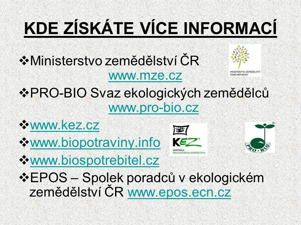 KDE ZÍSKÁTE VÍCE INFORMACÍ  Ministerstvo zemědělství ČR www.mze.cz www.mze.cz  PRO-BIO Svaz ekologických zemědělců www.pro-bio.cz www.pro-bio.cz  w