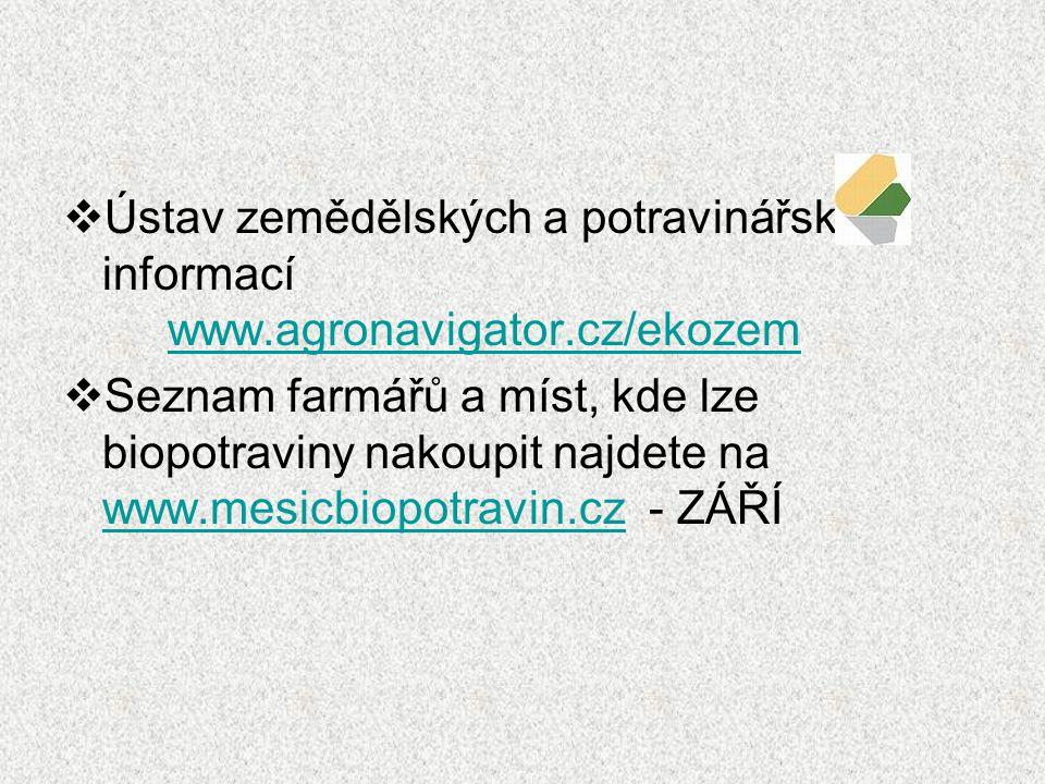  Ústav zemědělských a potravinářských informací www.agronavigator.cz/ekozem www.agronavigator.cz/ekozem  Seznam farmářů a míst, kde lze biopotraviny