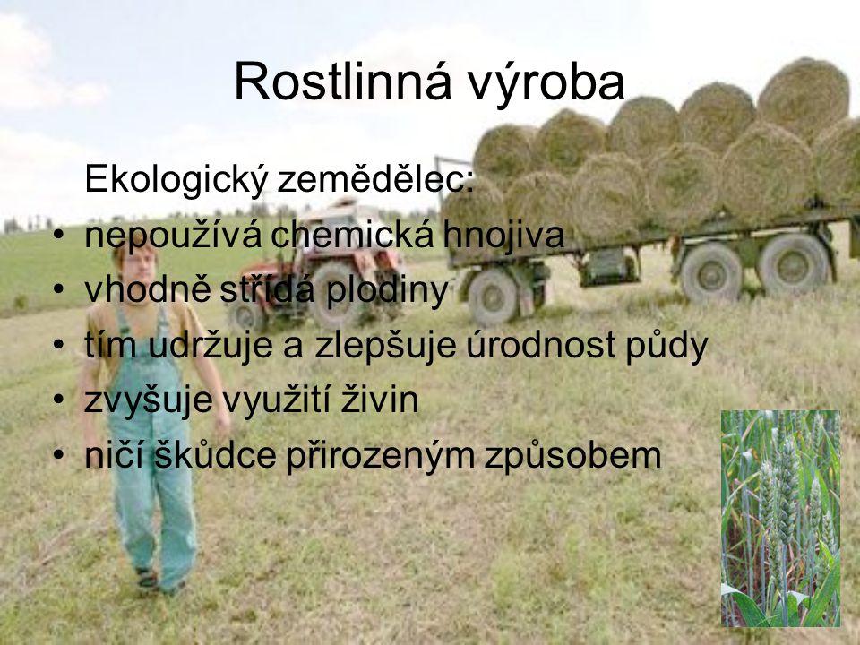 Rostlinná výroba Ekologický zemědělec: •nepoužívá chemická hnojiva •vhodně střídá plodiny •tím udržuje a zlepšuje úrodnost půdy •zvyšuje využití živin