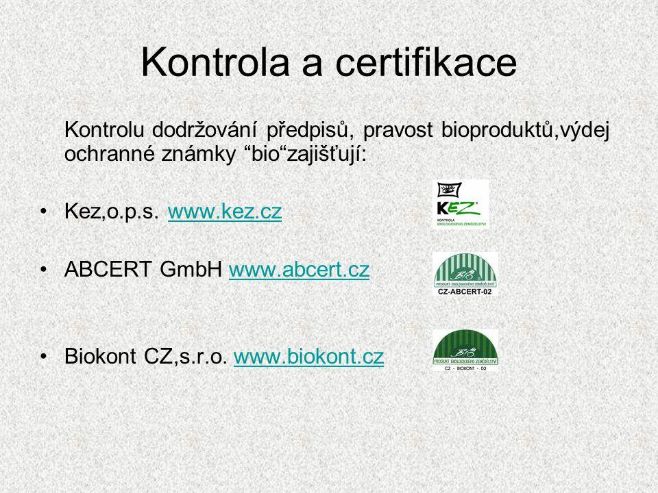 """Kontrola a certifikace Kontrolu dodržování předpisů, pravost bioproduktů,výdej ochranné známky """"bio""""zajišťují: •Kez,o.p.s. www.kez.czwww.kez.cz •ABCER"""