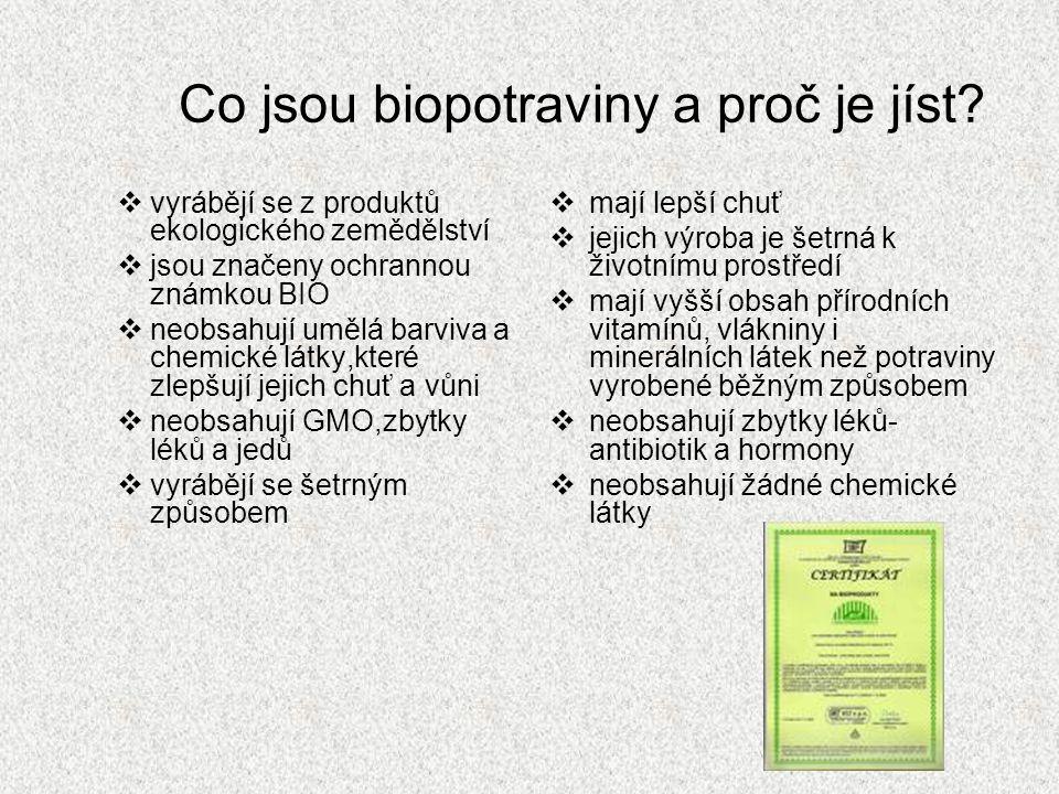 Co jsou biopotraviny a proč je jíst?  vyrábějí se z produktů ekologického zemědělství  jsou značeny ochrannou známkou BIO  neobsahují umělá barviva