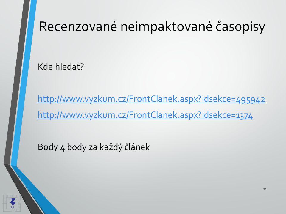 Recenzované neimpaktované časopisy Kde hledat? http://www.vyzkum.cz/FrontClanek.aspx?idsekce=495942 http://www.vyzkum.cz/FrontClanek.aspx?idsekce=1374