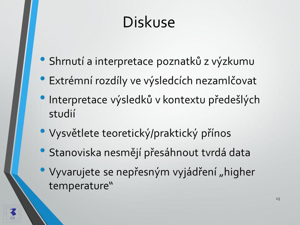 Diskuse • Shrnutí a interpretace poznatků z výzkumu • Extrémní rozdíly ve výsledcích nezamlčovat • Interpretace výsledků v kontextu předešlých studií