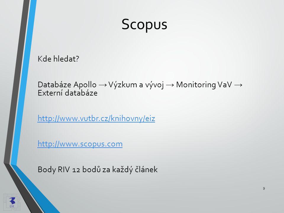 Scopus Kde hledat? Databáze Apollo → Výzkum a vývoj → Monitoring VaV → Externí databáze http://www.vutbr.cz/knihovny/eiz http://www.scopus.com Body RI