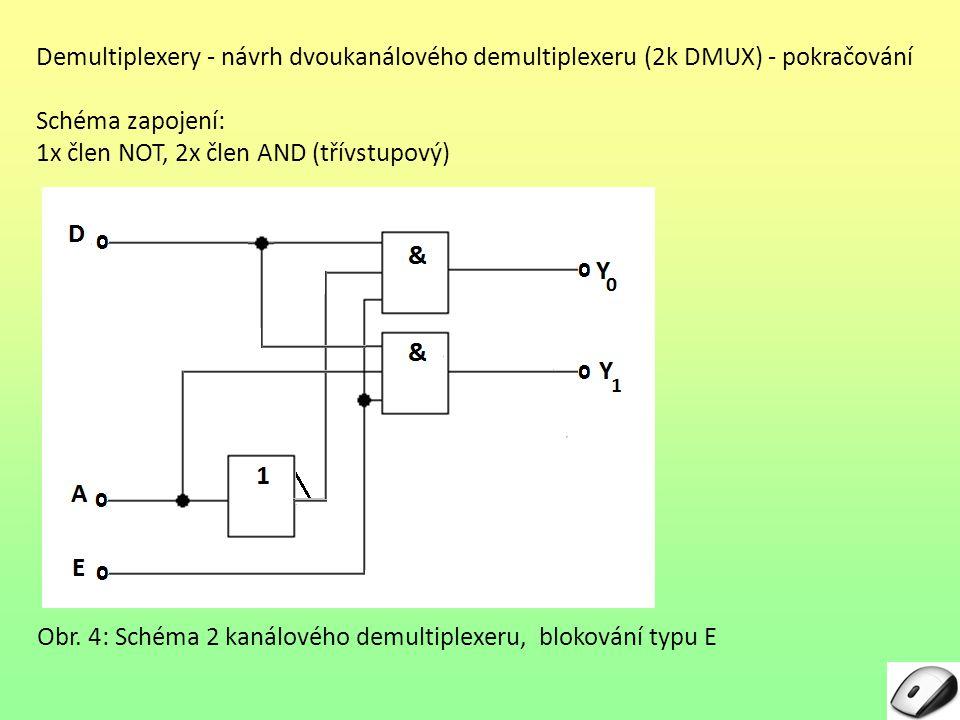 Demultiplexery - návrh dvoukanálového demultiplexeru (2k DMUX) - pokračování Schéma zapojení: 1x člen NOT, 2x člen AND (třívstupový) Obr. 4: Schéma 2