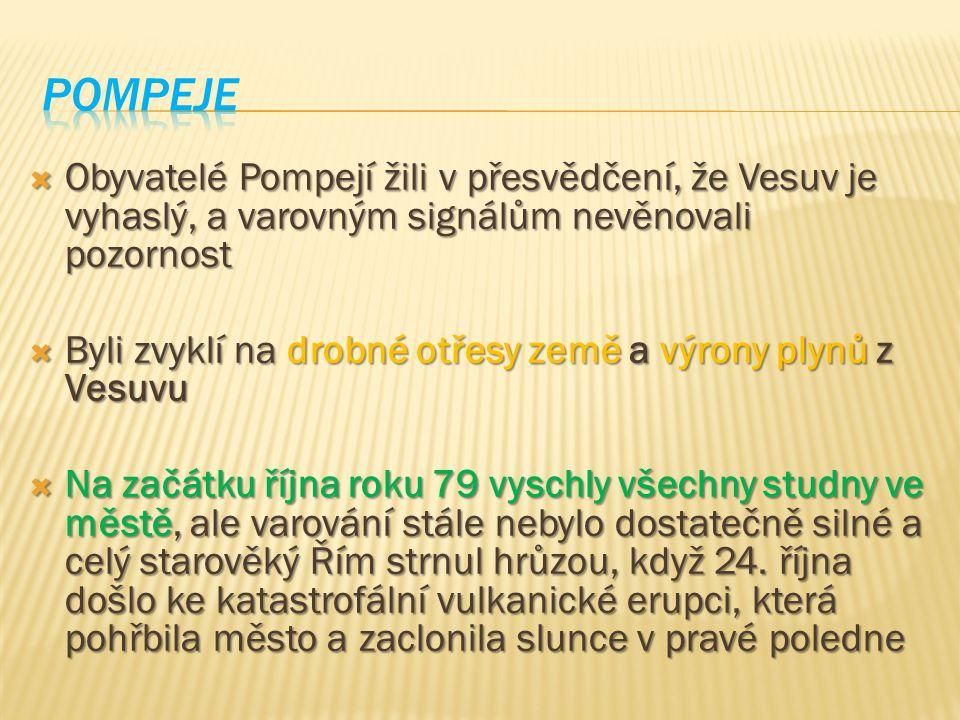  Obyvatelé Pompejí žili v přesvědčení, že Vesuv je vyhaslý, a varovným signálům nevěnovali pozornost  Byli zvyklí na drobné otřesy země a výrony ply