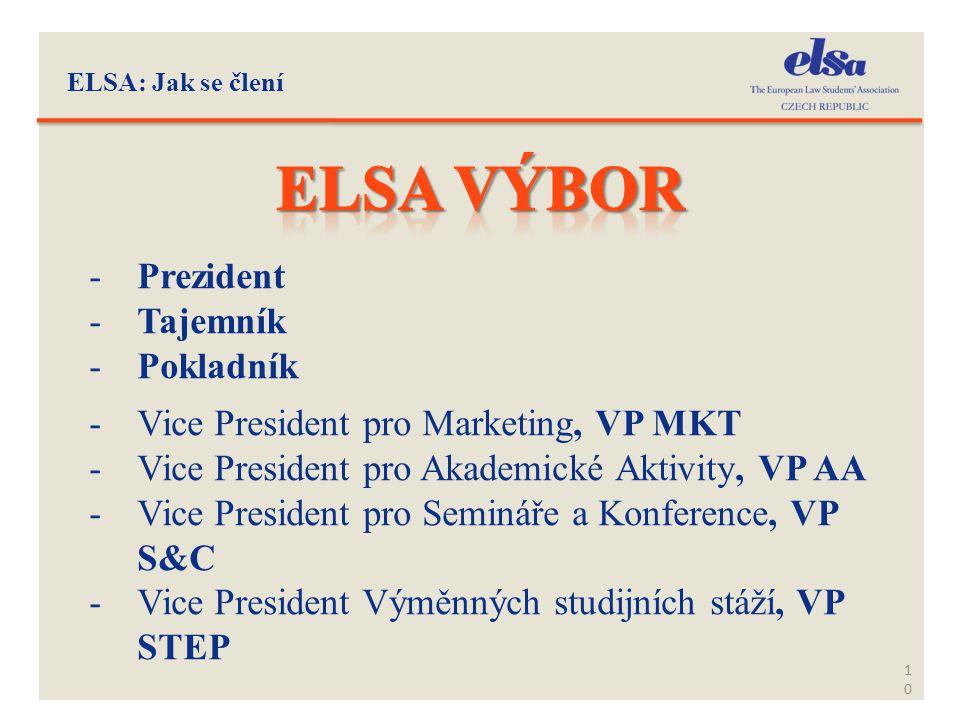 ELSA: Jak se člení 10 -Prezident -Tajemník -Pokladník -Vice President pro Marketing, VP MKT -Vice President pro Akademické Aktivity, VP AA -Vice Presi