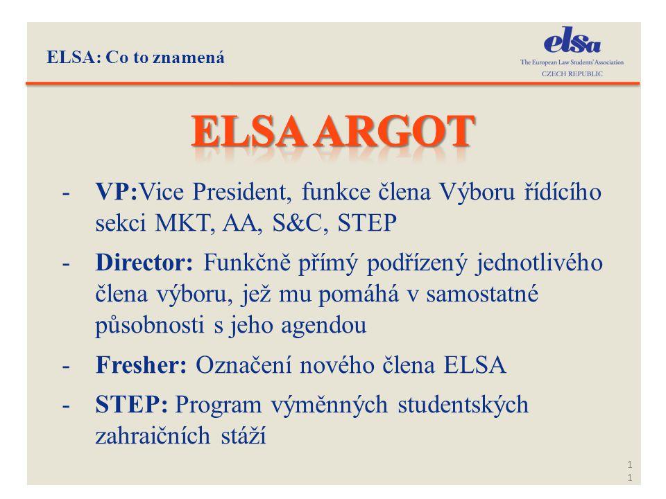 ELSA: Co to znamená 11 -VP:Vice President, funkce člena Výboru řídícího sekci MKT, AA, S&C, STEP -Director: Funkčně přímý podřízený jednotlivého člena