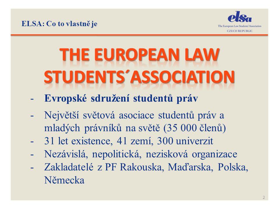 ELSA: Co to vlastně je 2 -Evropské sdružení studentů práv -Největší světová asociace studentů práv a mladých právníků na světě (35 000 členů) -31 let