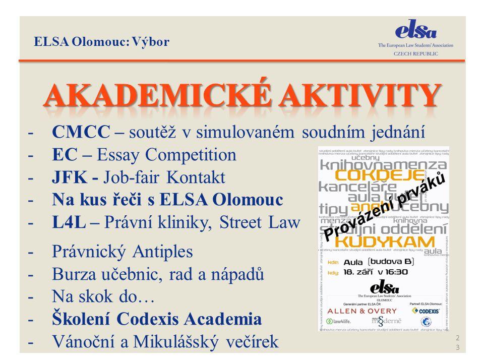 ELSA Olomouc: Výbor 23 -CMCC – soutěž v simulovaném soudním jednání -EC – Essay Competition -JFK - Job-fair Kontakt -Na kus řeči s ELSA Olomouc -L4L –