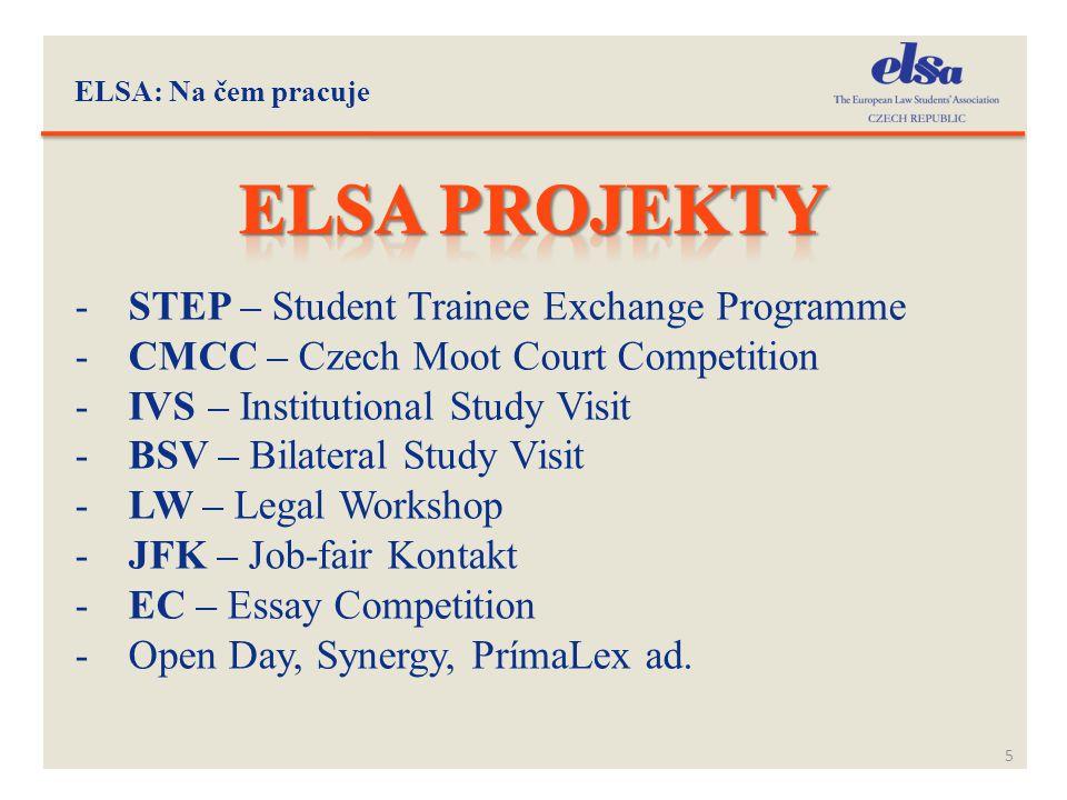 ELSA: Na čem pracuje 5 -STEP – Student Trainee Exchange Programme -CMCC – Czech Moot Court Competition -IVS – Institutional Study Visit -BSV – Bilater