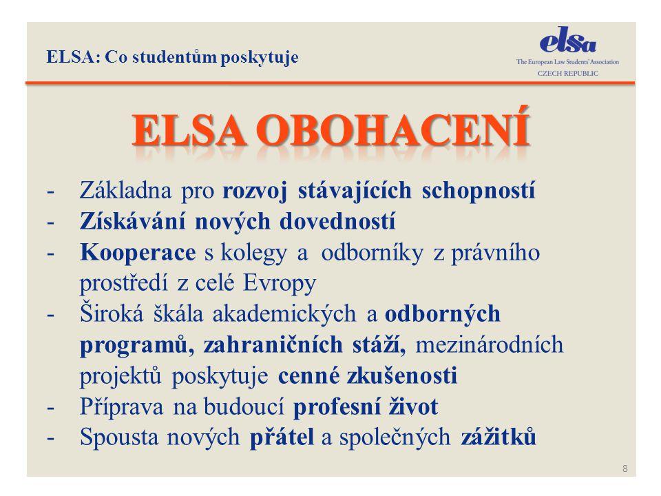 ELSA: Co studentům poskytuje 8 -Základna pro rozvoj stávajících schopností -Získávání nových dovedností -Kooperace s kolegy a odborníky z právního pro