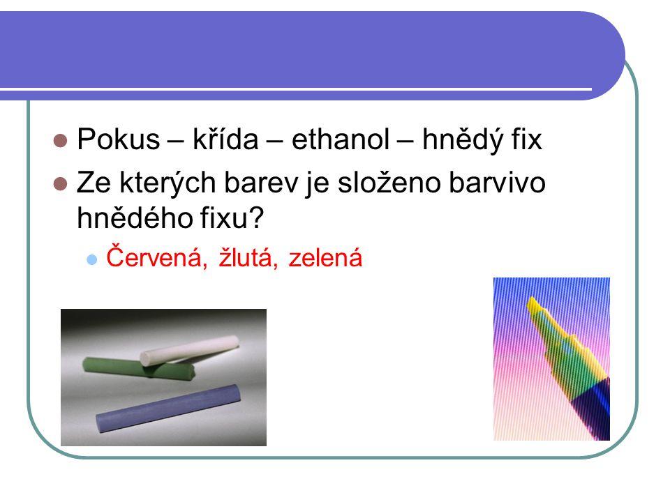  Pokus – křída – ethanol – hnědý fix  Ze kterých barev je složeno barvivo hnědého fixu?  Červená, žlutá, zelená