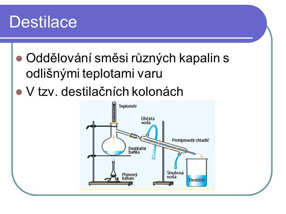 Destilace  Oddělování směsi různých kapalin s odlišnými teplotami varu  V tzv. destilačních kolonách