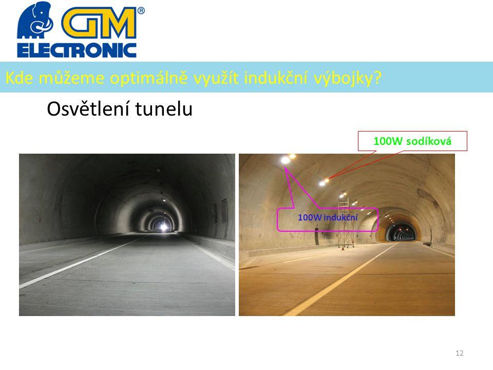 Kde můžeme optimálně využít indukční výbojky? Osvětlení tunelu 12 100W sodíková 100W indukční