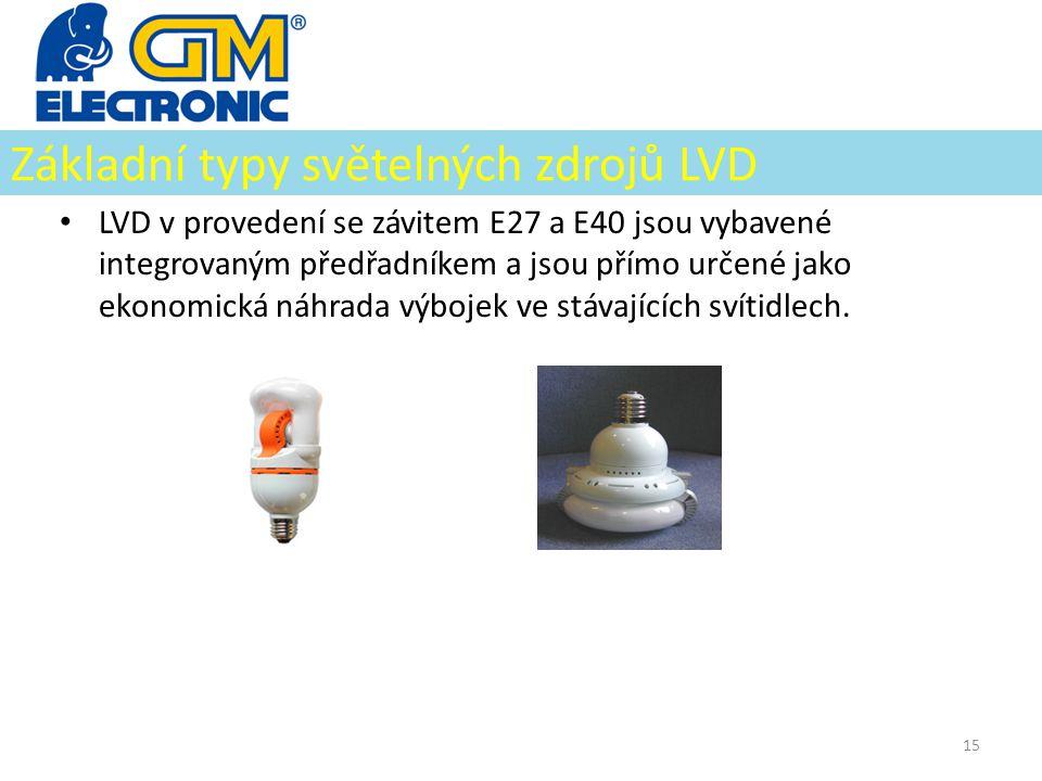 Základní typy světelných zdrojů LVD • LVD v provedení se závitem E27 a E40 jsou vybavené integrovaným předřadníkem a jsou přímo určené jako ekonomická