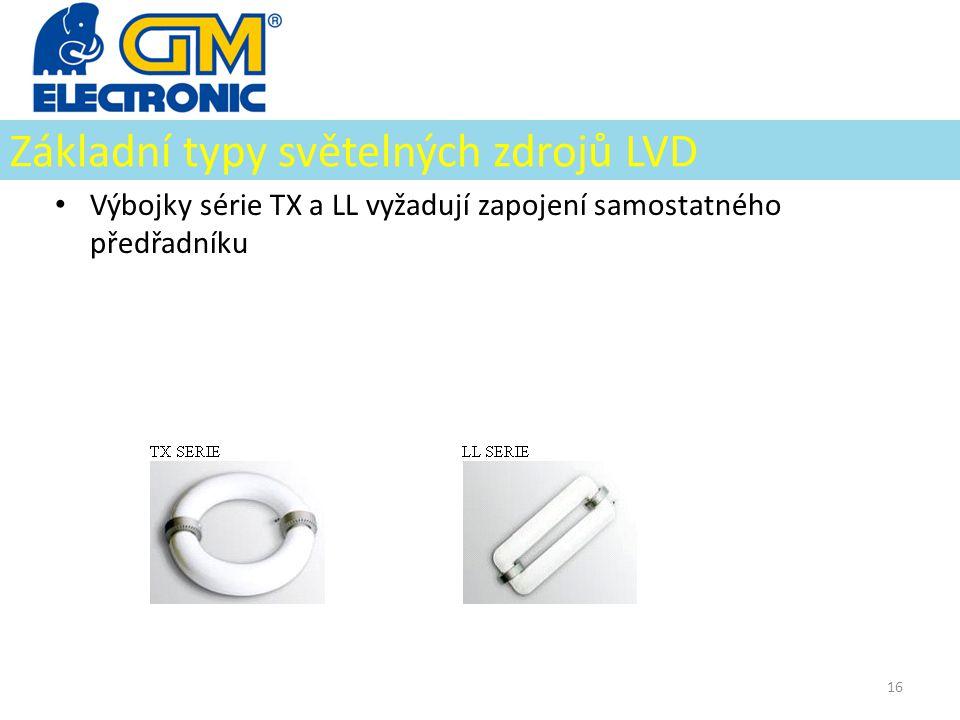 Základní typy světelných zdrojů LVD • Výbojky série TX a LL vyžadují zapojení samostatného předřadníku 16